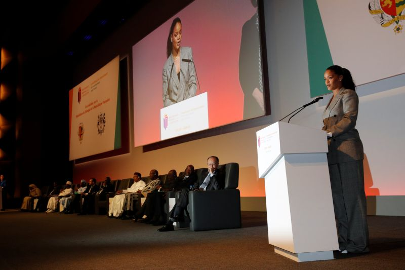 """Singer Rihanna attends the """"GPE Financing Conference, an Investment in the Future"""" organised by the Global Partnership for Education in Dakar, Senegal, February 2, 2018.  REUTERS/Philippe Wojazer"""